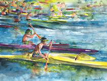 Canoe Race in Polynesia von Miki de Goodaboom