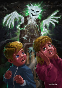 Kids with Haunted Grandfather Clock Ghost von Martin  Davey