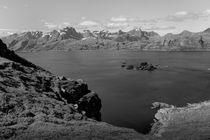 Hilly coastal landscape, Lofoten islands, Norway, b/w von travelfoto