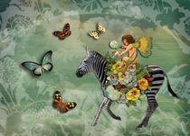 Flying Zebra and Fairy von Carolyn Slattery