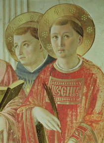Madonna of the Shadow, detail of St. Thomas Aquinas and St. Lawr by Fra Angelico