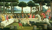 The Story of Nastagio degli Onesti: Nastagio Arranges a Feast at by Sandro Botticelli