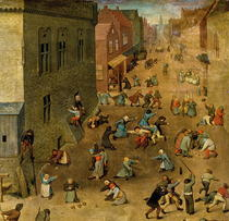 Children`s Games: detail of top right hand corner by Pieter Brueghel the Elder
