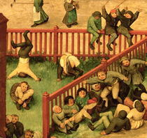 Children`s Games (Kinderspiele): detail of left-hand section by Pieter Brueghel the Elder