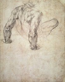 W.63r Study of a male nude, leaning back on his hands by Buonarroti Michelangelo