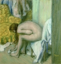 After the Bath, Woman Drying her Left Foot by Edgar Degas