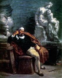 Michelangelo in seinem Atelier von Ferdinand Victor Eugèn  Delacroix