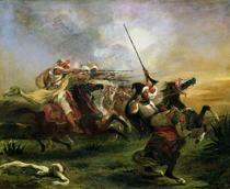 Moroccan horsemen in military action by Ferdinand Victor Eugèn  Delacroix