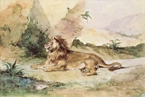 A Lion in the Desert by Ferdinand Victor Eugèn  Delacroix