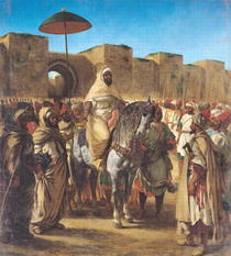 Muley Abd-ar-Rhaman, The Sultan of Morocco, leaving his Palace o by Ferdinand Victor Eugèn  Delacroix