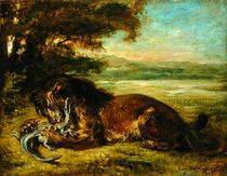 Lion and Alligator by Ferdinand Victor Eugèn  Delacroix