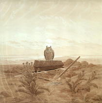 Landscape with Grave, Coffin and Owl by Caspar David Friedrich