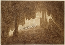 Skeleton in the Cave  by Caspar David Friedrich