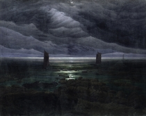 Sea Shore in Moonlight, 1835-36 (oil on canvas) by Caspar David Friedrich
