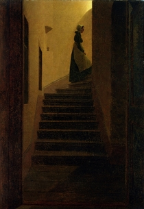 Lady on the Staircase  by Caspar David Friedrich