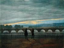 August Bridge in Dresden  by Caspar David Friedrich