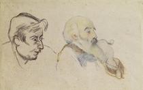 Gegenseitige Portraits von Pissaro und Gauguin von Paul Gauguin