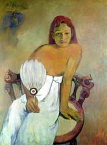 Mädchen mit Fächer von Paul Gauguin