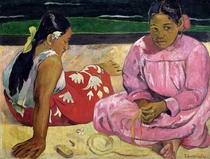 Tahitianische Frauen am Strand von Paul Gauguin
