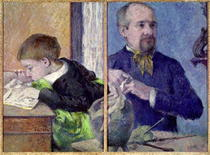 Portrait of Jean Paul Aube and his son by Paul Gauguin