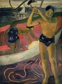 The Man with an Axe by Paul Gauguin