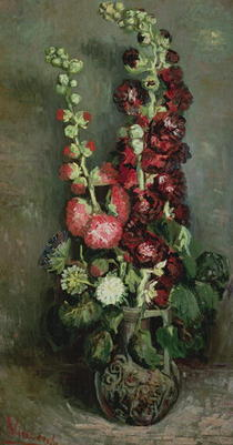 Vase of Hollyhocks by Vincent Van Gogh