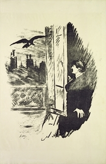 Illustration for `The Raven`, by Edgar Allen Poe by Edouard Manet