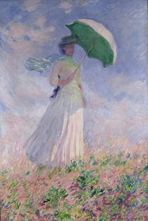 Frau mit Sonnenschirm von Claude Monet