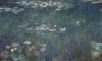 Waterlilies: Green Reflections (central section)  by Claude Monet