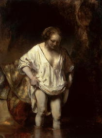 Woman Bathing in a Stream by Rembrandt Harmenszoon van Rijn