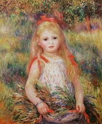 Junges Mädchen, Blumen tragend von Pierre-Auguste Renoir