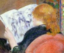 Junge Frau liest ein illustriertes Journal von Pierre-Auguste Renoir