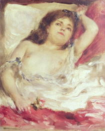 Semi-Nude Woman in Bed: The Rose by Pierre-Auguste Renoir