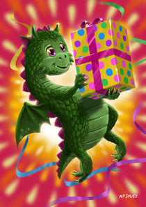 Baby Birthday Dragon with present von Martin  Davey