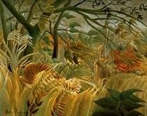 Überrascht - Sturm im Urwald  von Henri J.F. Rousseau