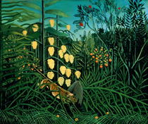 Tropical Forest: Battling Tiger and Buffalo by Henri J.F. Rousseau