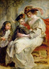 Helene Fourment mit zwei ihrer Töchter von Peter Paul Rubens