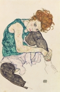 'Seated Woman with Bent Knee' by Egon Schiele