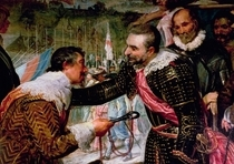 The Surrender of Breda, detail of Justin de Nassau handing the k by Diego Rodriguez de Silva y Velazquez