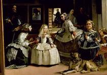 Las Meninas, Detail untere Hälfte von Diego Rodriguez de Silva y Velazquez