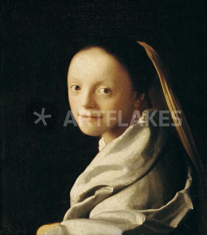 portrait einer jungen frau malerei als poster und kunstdruck von jan vermeer bestellen. Black Bedroom Furniture Sets. Home Design Ideas