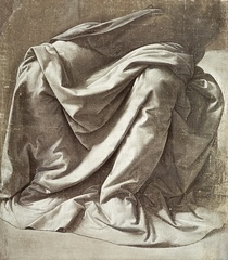 Drapery study for a Seated Figure by Leonardo Da Vinci