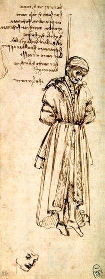 Zeichnung von der Erhängung des Bernardo di Bandino Baroncelli von Leonardo Da Vinci