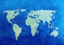 Blue World Map von Steve Ball