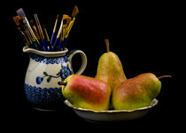 Pears, Paintbrushes, and Pottery by Jon Woodhams