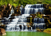 Tropical rainforest landscape with Pongour waterfall in Vietnam by perfectlazybones