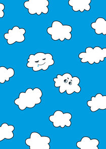 Blue Sky Happy Funny Clouds by Boriana Giormova