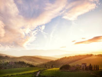 Picturesque Tuscany landscape at sunset by creativemarc