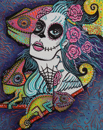 Chameleon Sugar Skull by Laura Barbosa