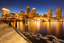 Boston, Massachusetts, USA skyline from Fan Pier at night by Sara Winter